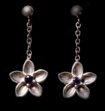 Tiffany & Co. Sterling Flower Drop Earrings