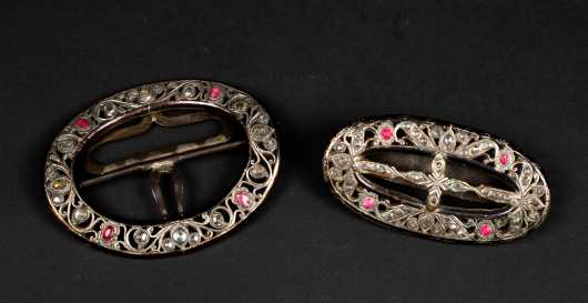 Antique Silver and Brass Buckle Set
