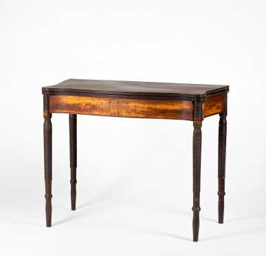 North Shore/New Hampshire Sheraton Mahogany Serpentine Card Table