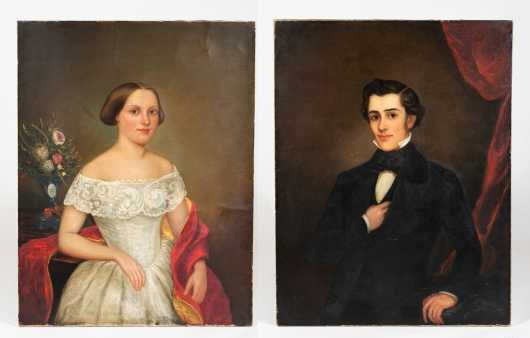 Pair of American E19thC Portrait Paintings