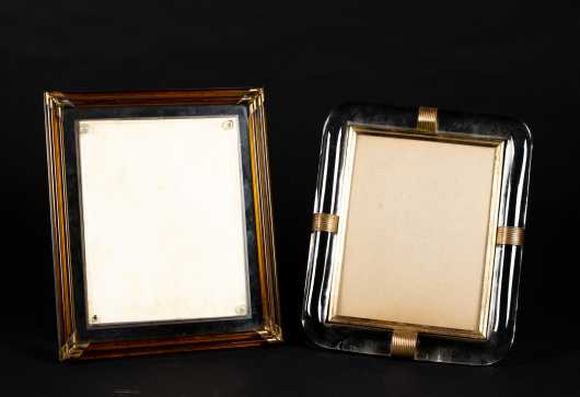 Two Art Deco Glass and Metal Frames