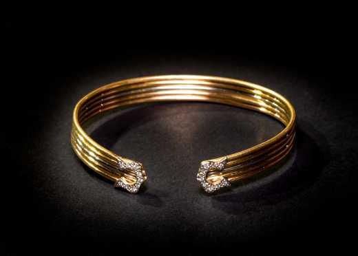 18K Cartier Style Gold and Diamond Cuff Bangle