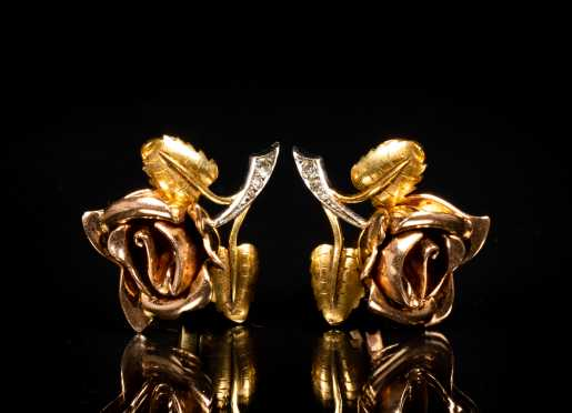 Cartier Rose Form Clip Earrings