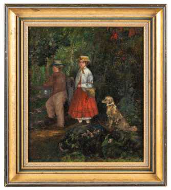 Primitive 19thC Children Painting with Dog