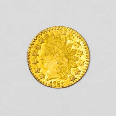 1881 1/4 Dollar California Gold