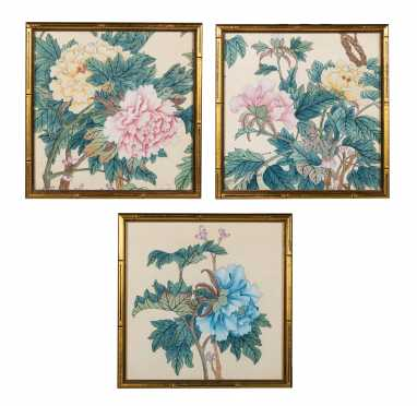 Three Chinese Watercolors on Silk Paintings