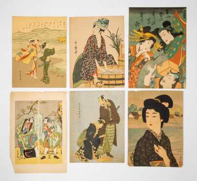 Lot of Six Vintage Japanese Block Prints