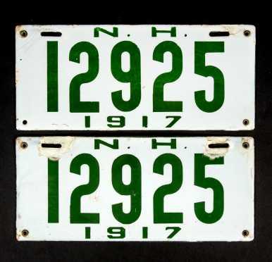 Set of New Hampshire 1917 Enamel License Plates