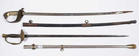 Lot of Two 19thC Swords with Scabbards
