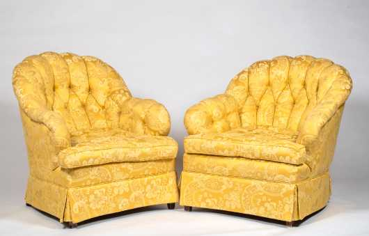 Pair of 20thC Upholstered Yellow Club Chairs