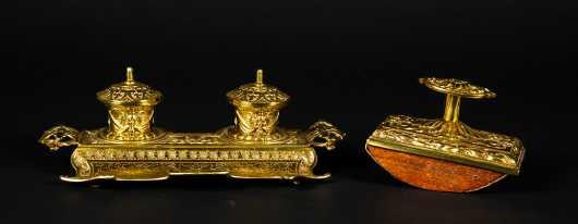 Victorian Brass Desk Set