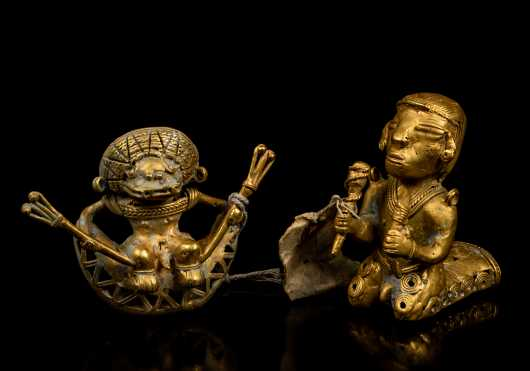 Two Pre-Columbian Gold Figures