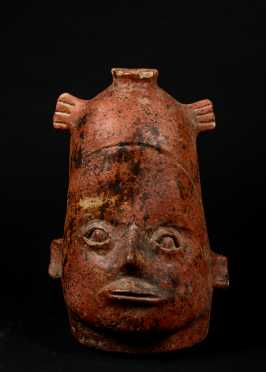 Pre-Columbian Attributed Molded Pottery Face Jug