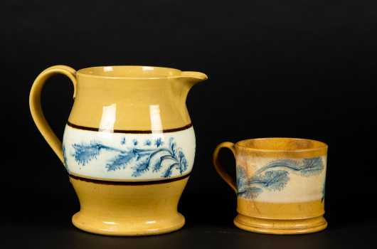 Yellow Mochaware in Seaweed Pattern