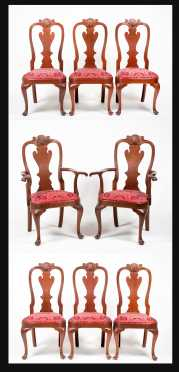 "Lot of Eight ""L&JG Stickley"" Philadelphia Style Queen Anne Chairs"