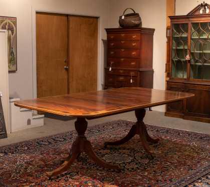 """L&JG Stickley"" Banded Double Pedestal Banquet Table"