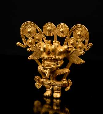 Pre-Columbian Tairona Gold Figure with Large Headdress