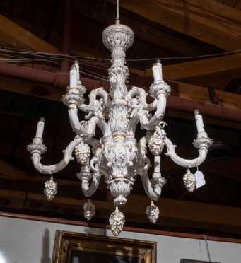 Von Schierholz Porcelain and Gilt Nine Arm Chandelier
