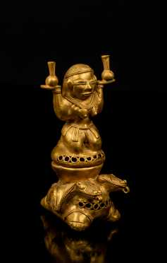 Pre-Columbian Tairona Gold Two Part Figure