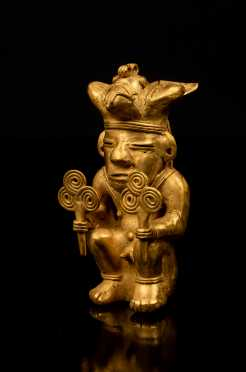 Pre-Columbian Tairona Gold Seated Figure with Two Fan Symbols