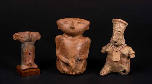 Three Pre-Columbian Clay Figures