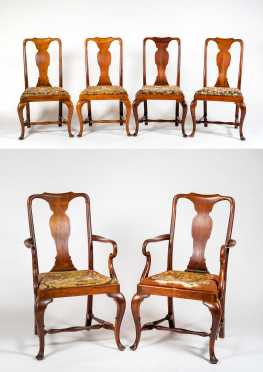 Set of Six Queen Anne Style Mahogany Dining Chairs