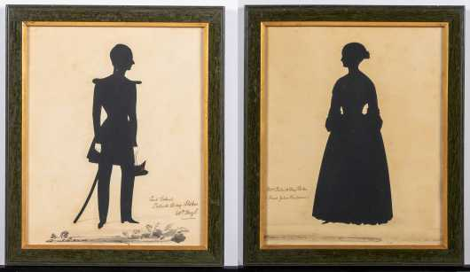 Pair of Cut Silhouettes of an Officer and His Wife