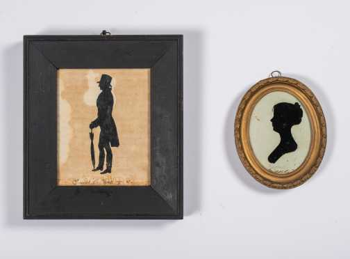 Two Cut Silhouettes of a Gentleman and Lady