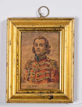 Miniature Watercolor Painting of English 19thC Soldier