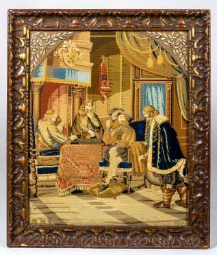 Dated 1845 French Silk Needlepoint Picture