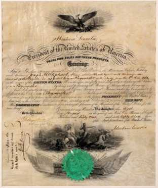 """Abraham Lincoln"" Signed Military Navy Commision Dated June 1st 1861"