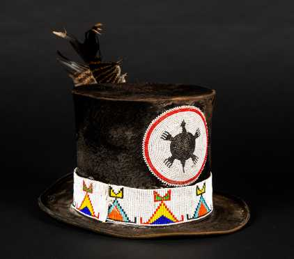 Native American Bead Decorated Top Hat