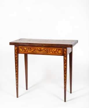 19thC Dutch Marquetry Inlaid Game Table