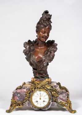 J.E. Caldwell & Co., French Bronze and Marble Mantel Clock