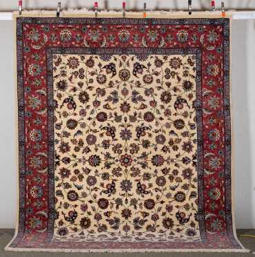 Pakistani Kashan Style Room Size Oriental Rug