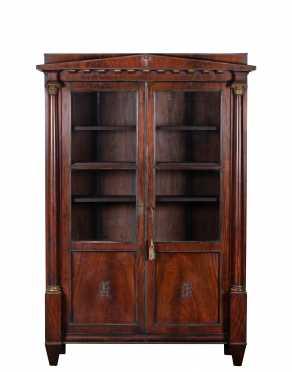 E19thC French Empire Two Door Mahogany Bookcase
