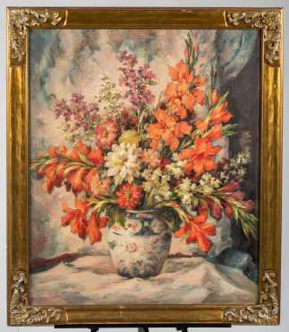 American Still Life Painting of Vase of Flowers
