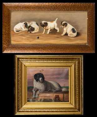 Two Primitive Paintings of Dogs