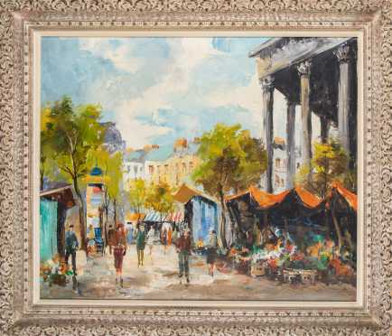 Corin, 20thC, Oil on Canvas Painting of a Market Scene