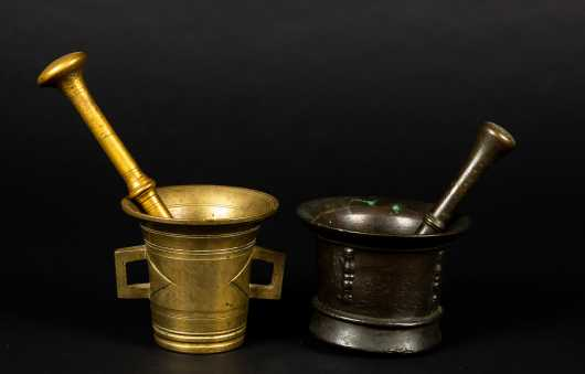 Two 18thC or Earlier Cast Bronze Mortar and Pestle
