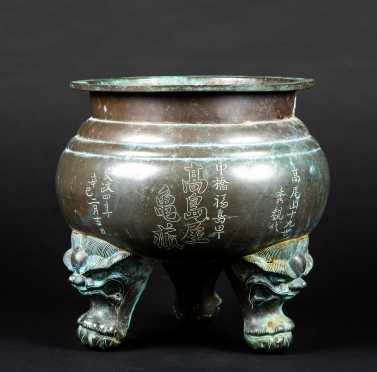 Chinese Bronze Griffin Footed Pot