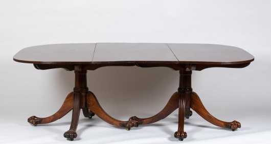 English Regency Double Pedestal Mahogany Banquet Table