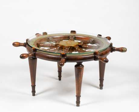 Vintage Ships Wheel Coffee Table
