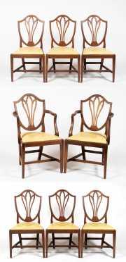 Set of Eight English Mahogany Hepplewhite Chairs