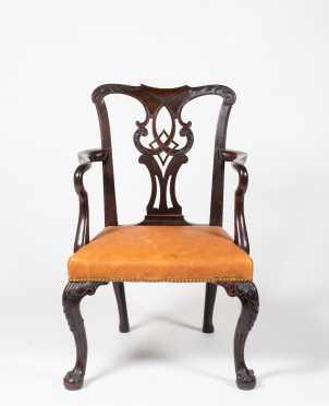 18thC English/Irish Mahogany Chippendale Armchair
