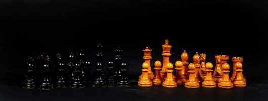 English Ebony and Boxwood Weighted Chess Set