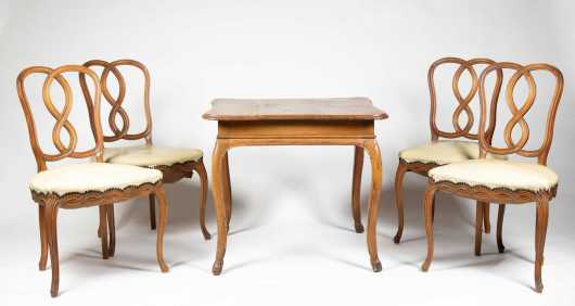 Country French Table and Four Chairs