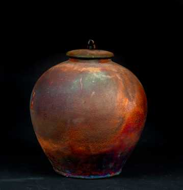 Native American Jon Oaks Pottery Jar with Lid