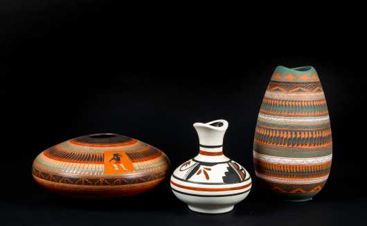 Three Native American Pottery Vases