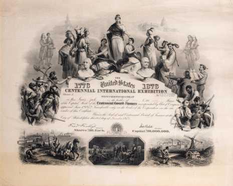 "Twenty Shares of Stock ""Centennial Board Finance"" 1776-1876"